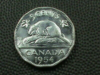 CANADA    5  Cents   1954   UNCIRCULATED    BEAVER