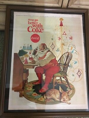 1966 Full Original Coca Cola Coke Santa Ad At The Very Top Says Charlie Brown