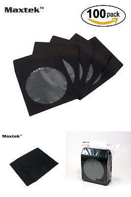 Maxtek Disc Jewel Cases 100 Pack Premium Thick Black Color Paper CD DVD Sleeves