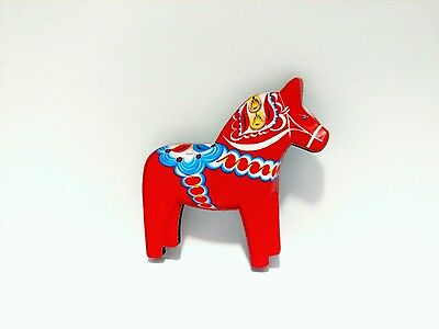 """New!!! 2"""" Traditional RED Swedish Dala Horse MAGNET, Made in Sweden"""