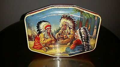 Vintage Horner Native American Indians Smoking The PIPE of Peace Candy Tin