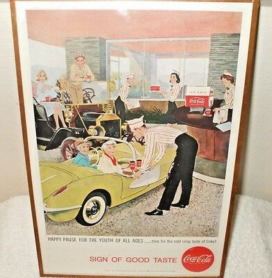"Original 1958 "" Sign Of Good Taste "" Coca-Cola  Advertisement - Framed -"