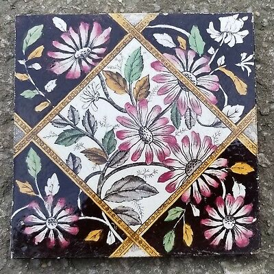 """Hand Painted English Transfer Ware Victorian Tile. 6""""x6"""". Flower Design"""