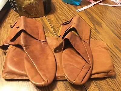 VTG Victorian Edwardian Era Women's Leather Button Slipper Shoes with Pouch