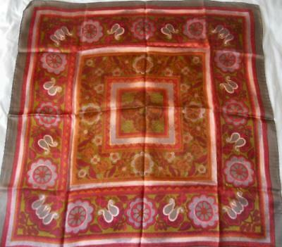 Vintage 1960S Silky Acetate Scarf Square Stylised Floral Muted Red Grey Green