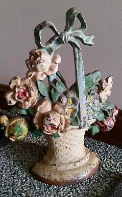 Beautiful Early Hubley Cast Iron Flower Rose Basket Doorstop #121 - Orig Paint