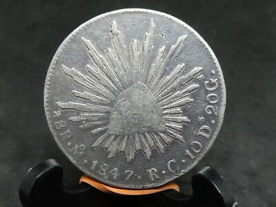 MEXICO SCARCE 8 REALES 1847 Mo RC, SILVER CROWN SIZE KM#377.10