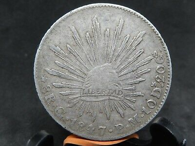 MEXICO NICE 8 REALES 1847 Go PM,EARLY DATE, SILVER CROWN SIZE,KM#377.8