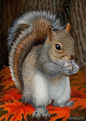 """""""Gray Squirrel""""ORIGINAL MINIATURE ACEO 2.5"""" x 3.5"""" OIL PAINTING by AL-Rubaie"""