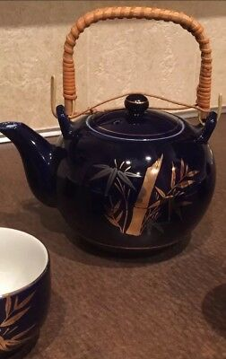 Vintage Cobalt Blue Porcelain Japanese Style Tea Set Bamboo Handle