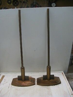 Pair Of Art Deco Metal Stands -Lamp-Bases-Bronze Color But Iron