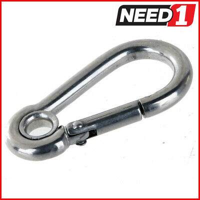 10 x Stainless Steel Carbine Hooks, With Eye, Grade 316