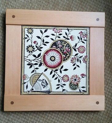 Dovecote Woodworking Antique aesthetic movement japonesque pottery  tile  frame