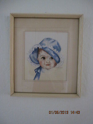 Vintage Baby Blue Bonnet Print Signed by Artist E.Fay O'connell  13 x 15 Framed