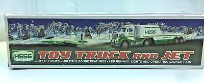 2010 Hess Toy Truck And Jet New Min in Box Real Lights and Plane Launch Ramp NIB