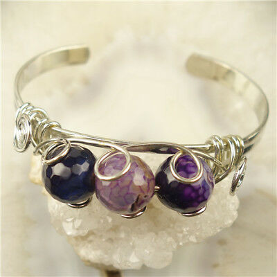 13mm Adjustable Tibetan Silver & Faceted Purple Fire Bangle C05038