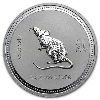 2008 2 oz Silver Lunar Series I MOUSE Coin