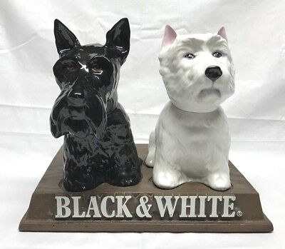 Vintage 1970 Buchanan's Black and White Scotch Porcelain Dogs Statues w Display