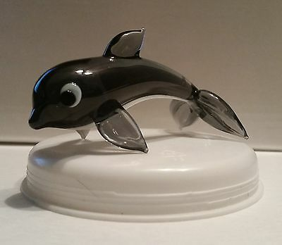 NEW Bohemia Art Glass by J Dostal Dolphin Black and Clear 2 3/4 inches