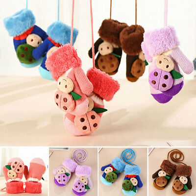 Winter Thick Kids Baby Boy Girl Child Thick Wool Gloves Mittens With Neck String