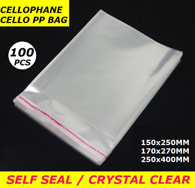 100pcs Clear Self Seal Adhesive Cello Cellophane Resealable Plastic PP Bags Size