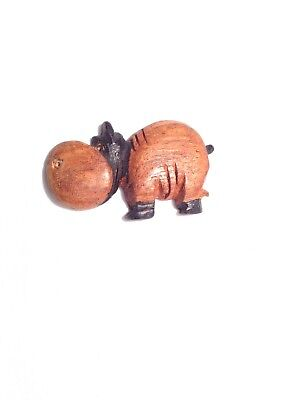 Hand Carved Wooden Hippopotamus Magnetic