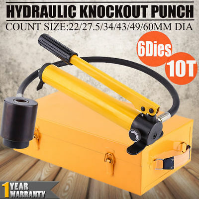 10 Ton 6 Dies Hydraulic Knockout Punch Driver Kit Hand Pump Conduit Hole Tool US