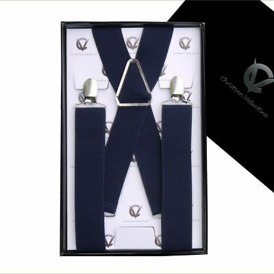 Men's Midnight Blue X3.5cm Extra Large Braces Suspenders Mens