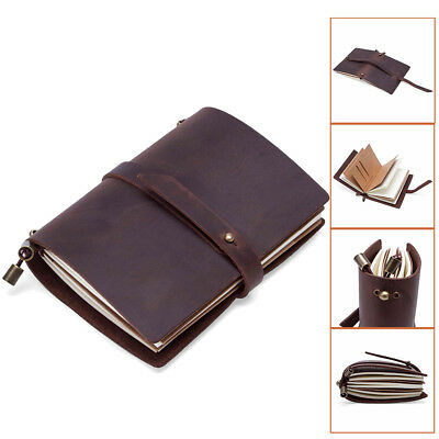 Retro Hamdmade Soft Leather Pocket Journal Diary Notebook Paper Business Notepad