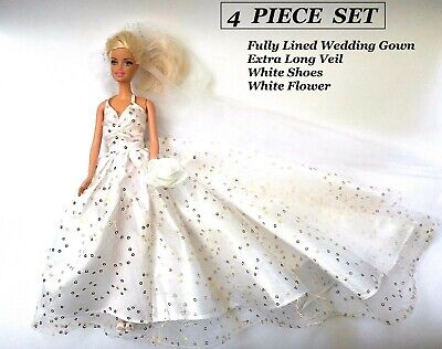 Brand new Barbie doll clothes outfit princess wedding evening bridal gown & veil