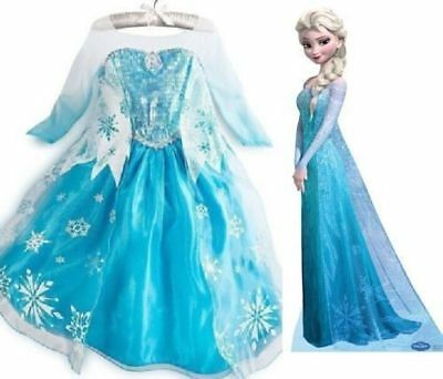 Kids Frozen Elsa Princess Costume Queen Cosplay Girls Fancy Dress Crown  2-8Year
