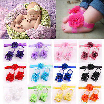 Newborn Baby Girl Infant Headband Foot Flower Elastic Hair Band Set Accessory T8