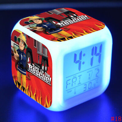 UK Fireman SAM LED Alarm Clock 7-Colors Changing Night Light Kids Xmas Gift Hot