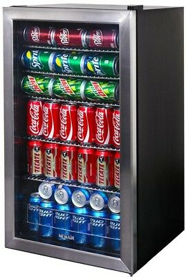 Spacious beverage Cooler for 126 Cans or 23 Bottles of Wine Automatic Defrost