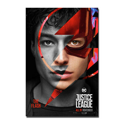 Justice League Movie Poster Ezra Miller The Flash Canvas Poster 12x18 32x48''