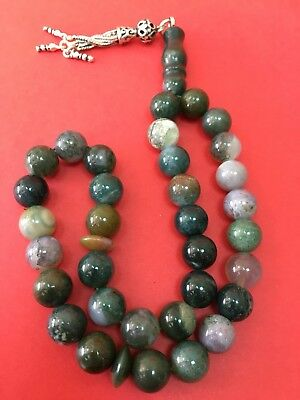 antique  BEAUTIFUL OLD Sulimani agate carnelian Stone Worry Beads Islamic 33
