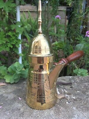 "Brass copper Authentic 7.5"" briki Arabic coffee pot vintage from Jerusalem"