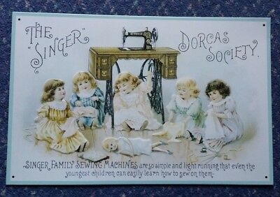 Singer Sewing Machine retro Steel Tin Metal Wall Vintage Sign shabby Advert