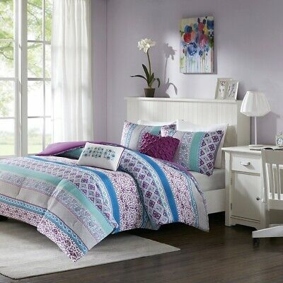 Purple Blue & Grey Geometric Comforter Set AND Decorative Pillows - ALL SIZES