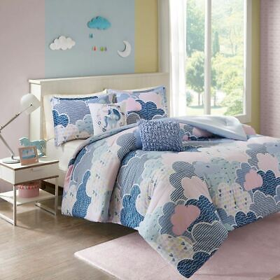 Blue Purple & Pink Playful Clouds Comforter Set AND Decorative Pillows-ALL SIZES