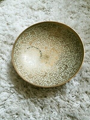 Vintage Brass Ornate Bowl Made in India White Floral Pattern