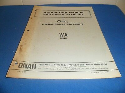 (Drawer 34) Onan WA Electric Generating Plants Instruction Manual Parts Catalog