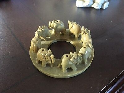 Elephant figurine round candle top holder