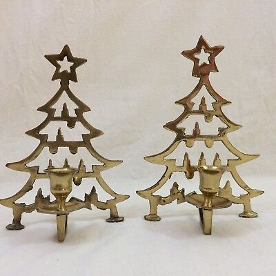 Unique Pair of Solid Brass Christmas Tree Candle Holders, Hand Cast