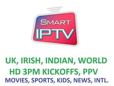 12 Month IPTV Subscription Warranty (UK Ch + VOD) MAG,Android,SmartTV, M3U, Gift