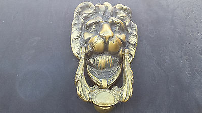 Antique Vintage Lions Head Heavy Brass Door Knocker - Nice Patina and Highlights