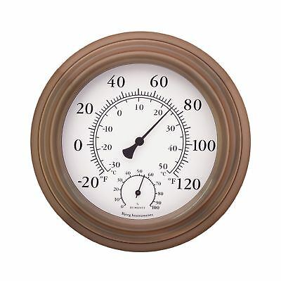 "8"" Antique Copper Finish Decorative Indoor / Outdoor Thermometer and Hygrometer"