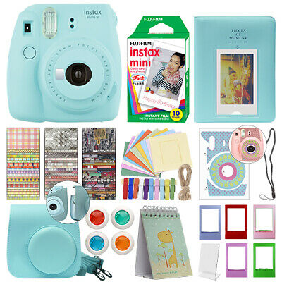 Fujifilm Instax Mini 9 Instant Film Camera Ice Blue + 10 Film Deluxe Bundle