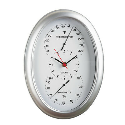 Indoor Weather Station And Clock, Silver, by Collections Etc