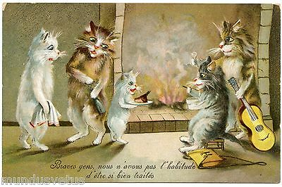 MAURICE BOULANGER . CHATS HUMANISéS. DRESSED CATS. NOEL . CHRISTMAS